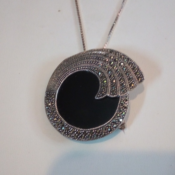 Jewelry - Onyx, marcasite, Sterling silver necklace